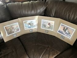 Ducks Unlimited Stamp And Duck Prints Lot Of 4 Unframed Including Russ Duerksen