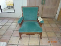 Old Vintage Collectible Wooden Carved Blue Velvet Chair Armchair