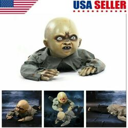 Animated Crawling Baby Zombie Prop Halloween Party Decoration Light Up Talking