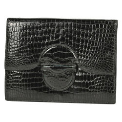 Hermes Faco On Hand Clutch Bag Porosas Black Women And039s Secondhand Msp2 _25127