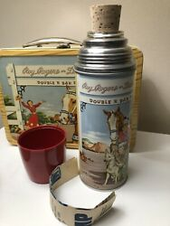 Vtg 50s Roy Rogers Double R Bar Ranch Metal Lunch Box And Thermos W/ Org Insert