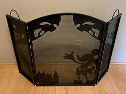 Raredisney Wrought-iron Mickey Mouse Fireplace Screen Forest Trees