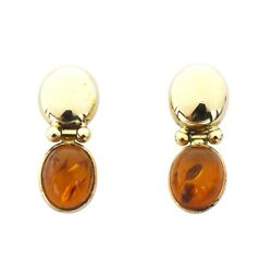 Vintage Tc 14k Gold Jointed Oval Amber Hinge Stud Earrings Italy