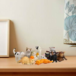 10pcs Cute Cat Figures Statues Animal Figurines Model Collectibles Gifts