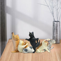 6/set Yoga Cat Figures Statues Animal Miniature Figurines Collectibles Gifts
