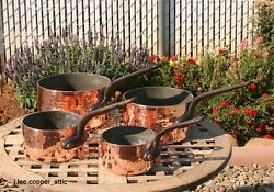 Set Of 4 Hammered Copper Sauce Pans, 3 Mm, Tin Lined And Cast Iron, Made In France