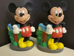 Lot 2 Vintage Disney Mickey Mouse Mail Box Plastic Rubber 1990s Piggy Coin Banks