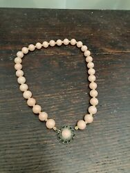 Antique Chinese Or Japanese Pink Coral Necklace From Victorian Estate