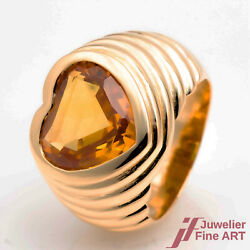 Ring Heart Ring 750/18k Yellow Gold 1 Citrinherz Approx. 50ct Ring Size 535