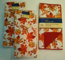 Home Collection Fall Leaves Kitchen Dish Towels amp; Matching Drying Mat Set of 3