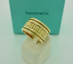 Authentic Vintage And Co. Atlas 12mm Wide 18k Yellow Gold Band Ring Us7