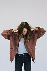 Nwt Free People Dolman Quilted Knit Jacket Cherry Cola L Rd/rou C