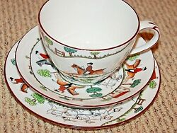 Staffordshire Queensberry Foxhunt China, 2 Large Mugs, Saucers, Dessert New