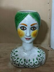 Large 16 Mid-century Signed Horchow Italy Woman Bust Vase