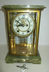 Antique New Haven Green Onyx Crystal Regulator Clock 8-day, Time/strike