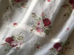 Vintage French Shabby Cottage Roses Cotton Fabric Red Pink Green