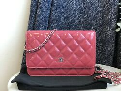 Auth Pink Quilted Patent Leather Cc Woc Clutch Bag Silver Hw