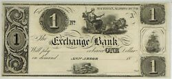 18xx Ann Arbor Michigan The Exchange Bank 1 Obsolete Currency Remainder Ca1840s