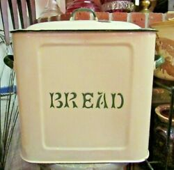 Antique Enamelware Bread Box Beige And Green Enamel With Lid, Primitive Farmhouse