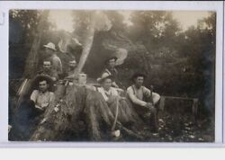 Real Photo Postcard Rppc - Logging Lumberjacks With Tools And Lunch