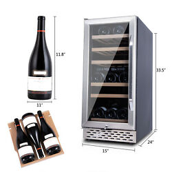 32 Bottle Wine Beverage Cooler Refrigerator Stainless Steel Dual Zone Silver Usa