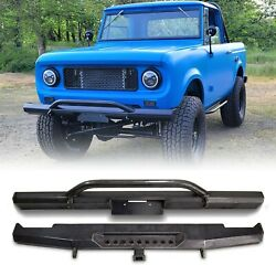 1961-1971 Scout 80 / 800 Harvester Deluxe Front Rear Bumper Set Raw Steel