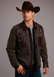 Stetson Mens Brown Leather Canvas Jean Jacket
