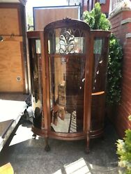Antique Carved Oak Curved Glass Display Cabinet With Leaded Beveled Glass Front