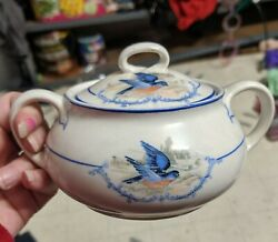 Antique Ws George Bluebird Sugar Bowl And Lid Discontinued