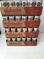 96 Vintage Schaefer Pull Tab 10 Oz Beer Cans Empty With Cardboard 4 Cases Prop
