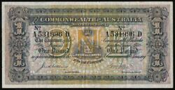 Australia Andpound1 Collins-allen Rare Variety With Arabic 1 Right And Roman 1 Left.