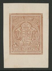 Victoria 1884 Vr Stamp Duty 5/- Brown, Imperf Proof. Extremely Rare