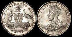 Australia 1926 Kgv 2-. Lustrous Unc, Emu With Full Feathers Which Is A Rarity.