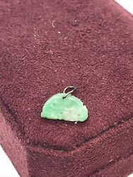 Genuine Antique Chinese Green And White Not Stained Jade Small Charm Pendant