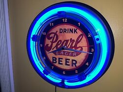 Drink Pearl Lager Beer Bar Man Cave Neon Clock Advertising Sign