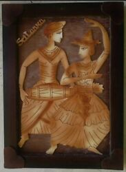 Wooden Framed Art Handmade Home Decoration Nice Looking Animal And Dancer New
