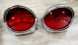 1957 Oldsmobile Tail Lights Assembly Housing Pair Genuine Guide R3-57 1