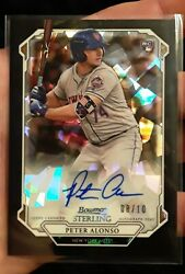 2019 Bowman Sterling Pete Alonso And039d 08/10 Black Atomic Refractor Autograph Rare