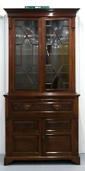 Secretaire Mahogany Bookcase/cabinet With Pigeon Drawers And Nice Carved Details