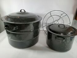 Lot Of 2 Canning Pots Rack Large With Rack Small Black