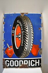 Vintage Goodrich Tire Tyres Sign Board Porcelain Enamel Advertising Collectible