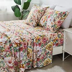 Fadfay Floral Sheets Set Queen 100 Cotton Shabby Garden Flower Pink And Oran...