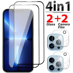 For Iphone 13 Pro Max 12 Pro Full Cover Tempered Glass Screen Camera Protector