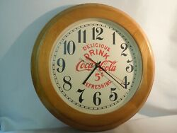 Vintage Style Coca Cola Wall Clock 16 Diameter W/ Wood Frame, New Dial And Hands