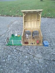 Handmade 2 Stall Toy Wooden Horse Barn With Breyer Classic And Accessories