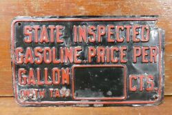Vintage 1920s/1930s Gas W/ Tax Sign Pump Plate Price Gas Service Station Tag