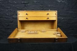 Vintage Wooden Tool Cabinet / Carpenters Chest Drop Front And Two Drawers