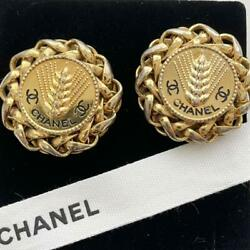Extremely Rare Vintage Earring Engraved Gold Coco Mark _31344