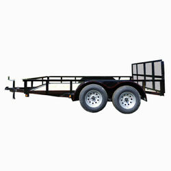 6.4' X 12' Tandem Axle Dove Tail Utility Trailer With Gate And Lights