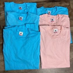 Vintage Lot Of 6 Fruit Of The Loom Blank T-shirt L Usa Made Blue Pink Nwot